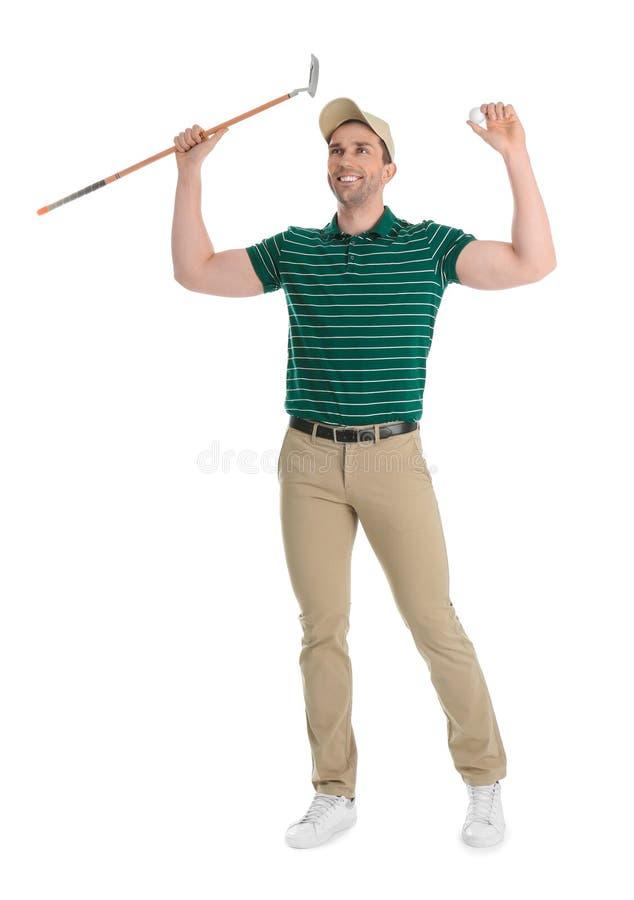 Portrait intégral de l'homme avec le club de golf d'isolement photos libres de droits