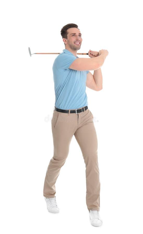 Portrait intégral de l'homme avec le club de golf photo libre de droits