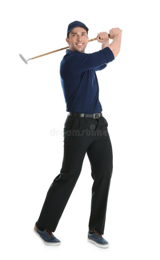 Portrait intégral de l'homme avec le club de golf image stock