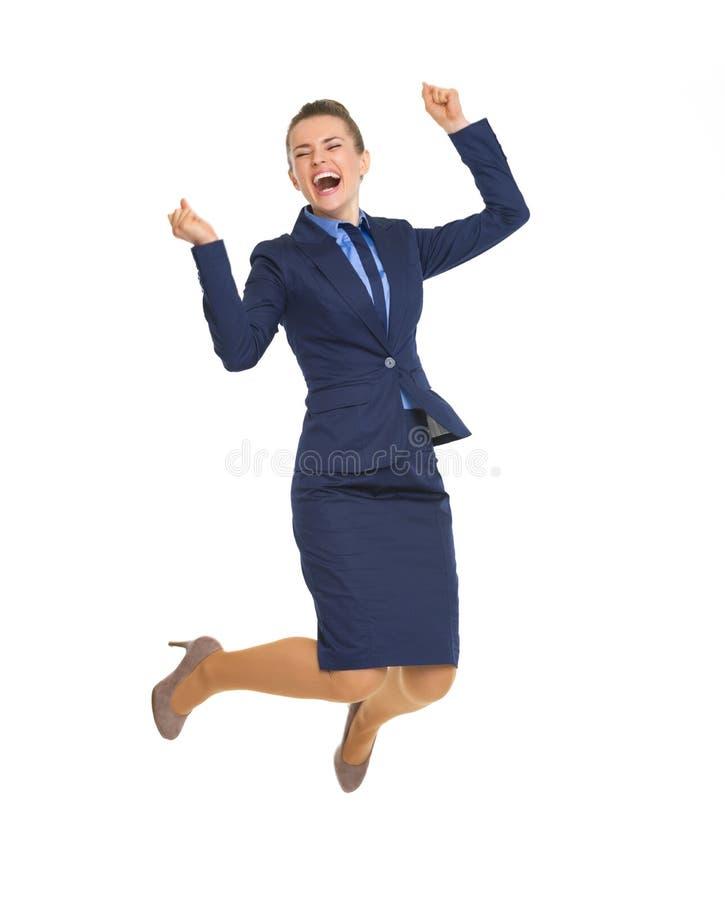 Portrait intégral de sauter de femme d'affaires photos libres de droits