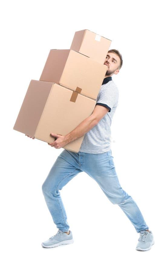 Portrait intégral des boîtes de transport de carton de jeune homme photographie stock