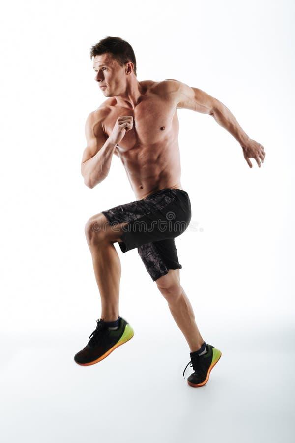 Portrait intégral du jeune homme sportif courant au-dessus du Ba blanc images libres de droits