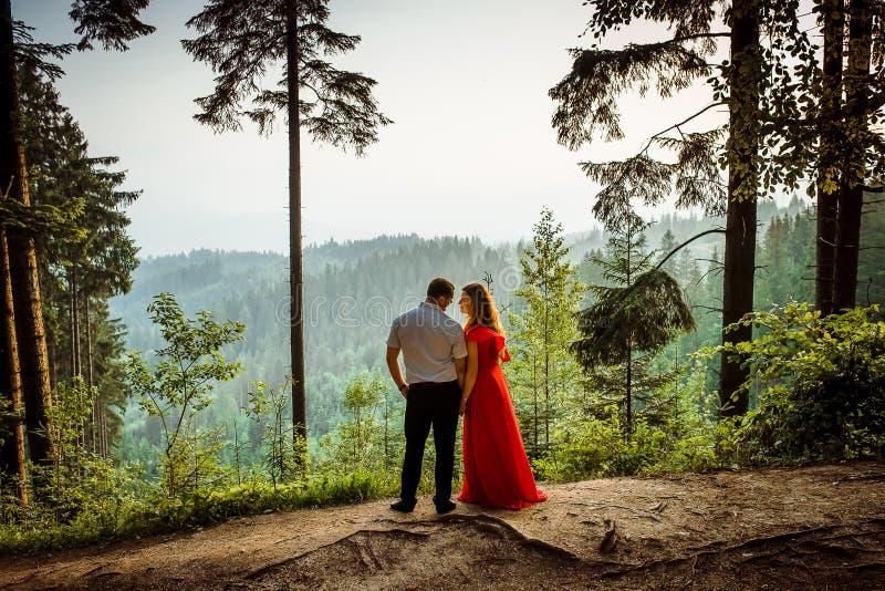 Portrait intégral extérieur romantique Le couple attrayant regarde tendrement l'un l'autre avec le sourire tout en se tenant photographie stock
