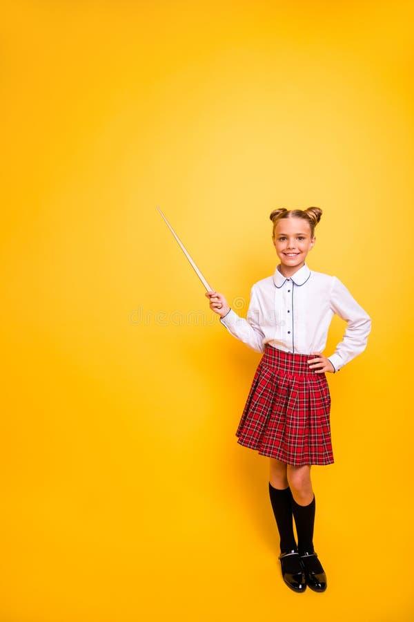 Portrait intégral vertical de vue de taille du corps de ballot de la préadolescence de fille de génie gai attrayant gentil dans l images libres de droits