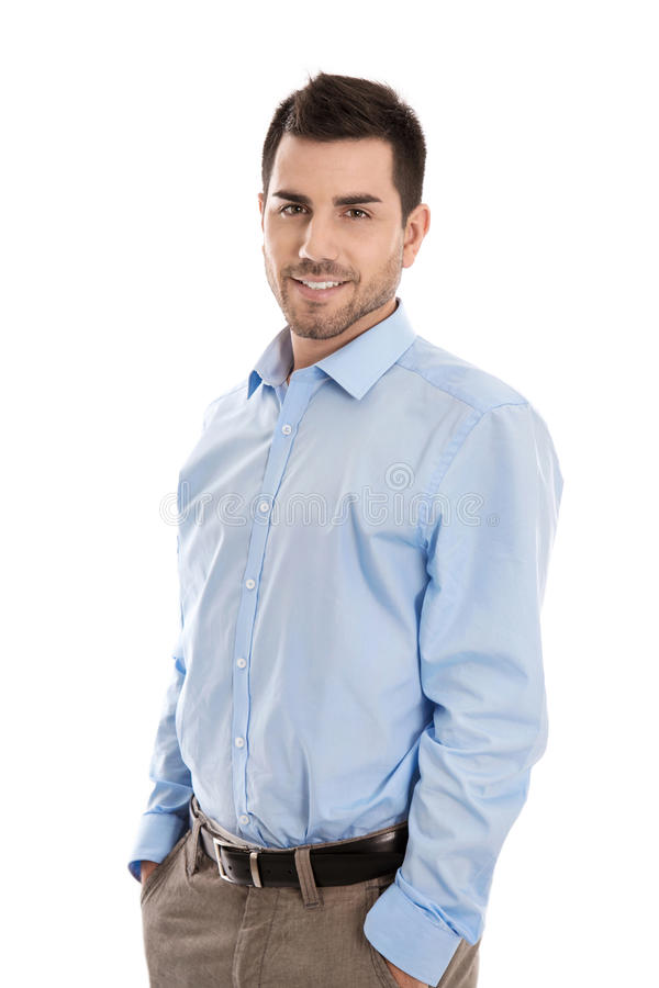 Portrait: Isolated handsome smiling business man over white. stock photo