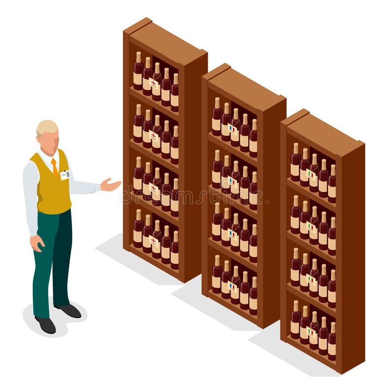 Portrait isométrique de vendeur de mâle adulte dans la bouteille de représentation uniforme de vin à un client dans la boutique d illustration libre de droits