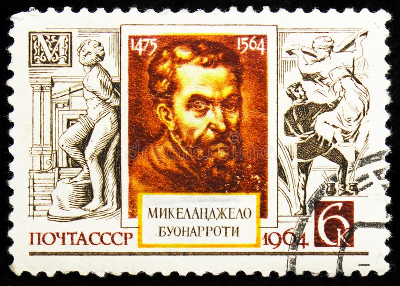 Portrait of Italian sculptor Michelangelo (1475-1564), Cultural Anniversaries serie, circa 1964. MOSCOW, RUSSIA - AUGUST 22, 2019: Postage stamp printed in stock images
