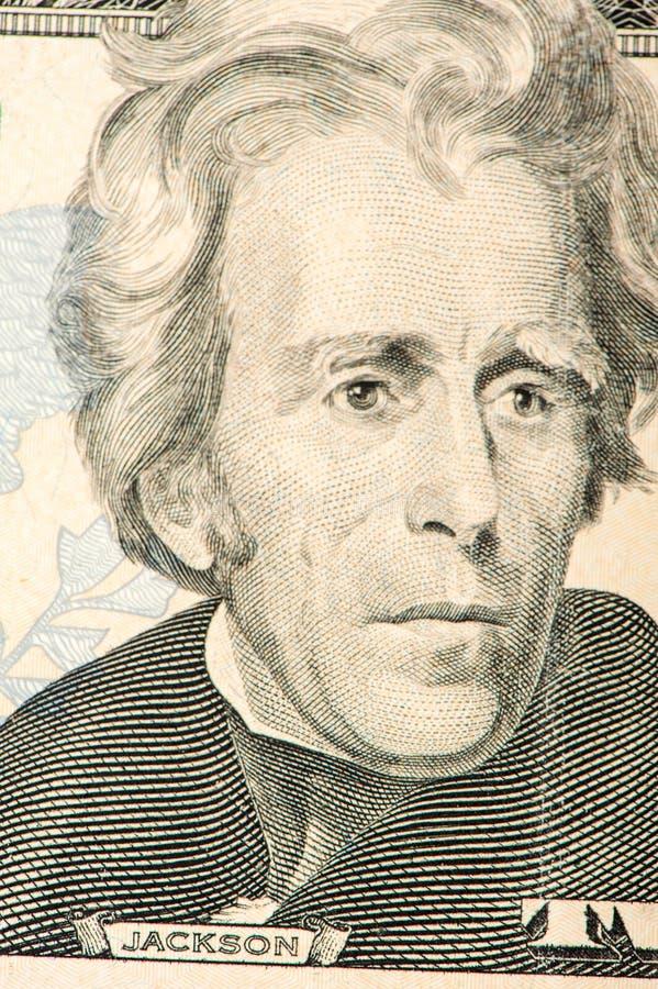 Portrait of jackson. twenty dollars bill. american president closeup royalty free stock images