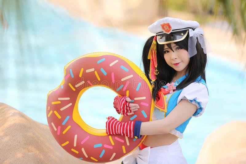 Portrait of Japan anime cosplay girl at Waterpark royalty free stock images