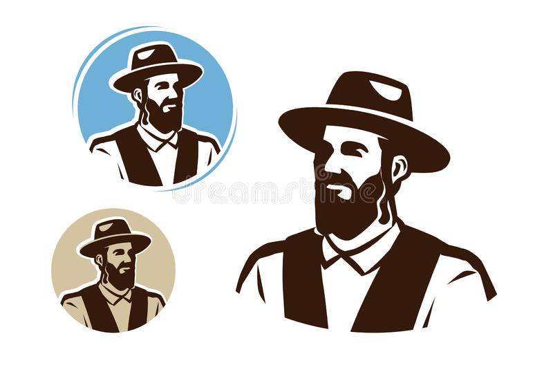 Portrait of a jewish man, logo. Judaism vector illustration. Portrait of a jewish man, logo. Judaism vector vector illustration