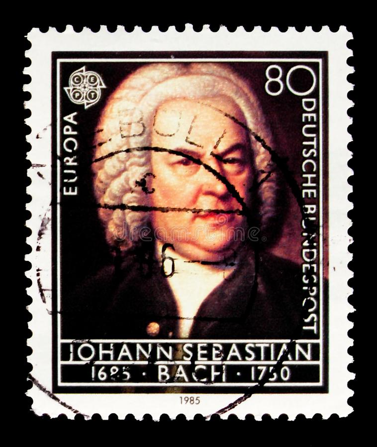 Portrait of Johann Sebastian Bach, European Year of Music serie, circa 1985. MOSCOW, RUSSIA - OCTOBER 3, 2017: A stamp printed in Germany Federal Republic shows royalty free stock images