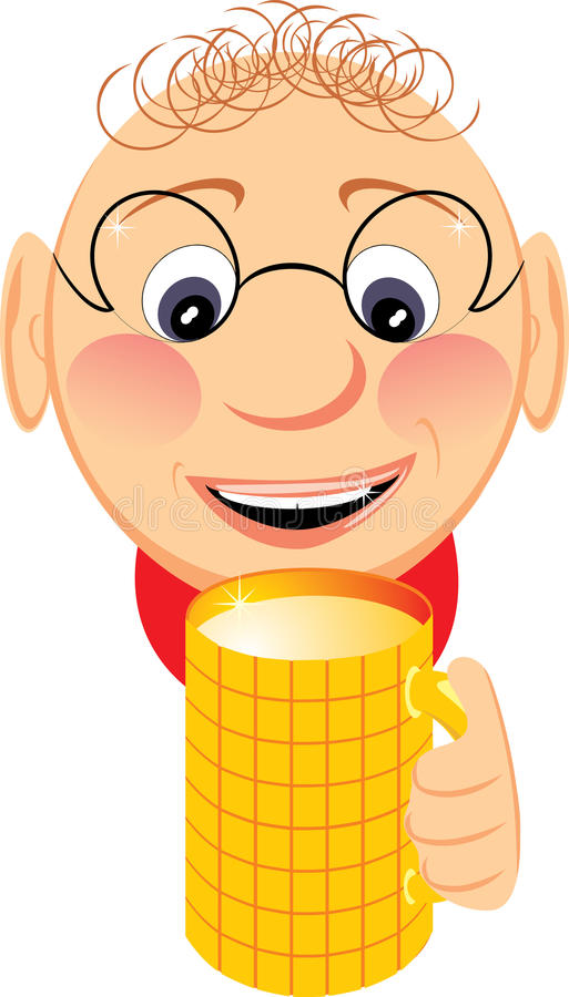 Portrait of jovial fellow with mug of beer. Vector illustration stock illustration