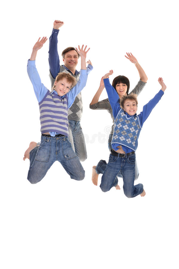 Portrait of joyful family of four stock photography