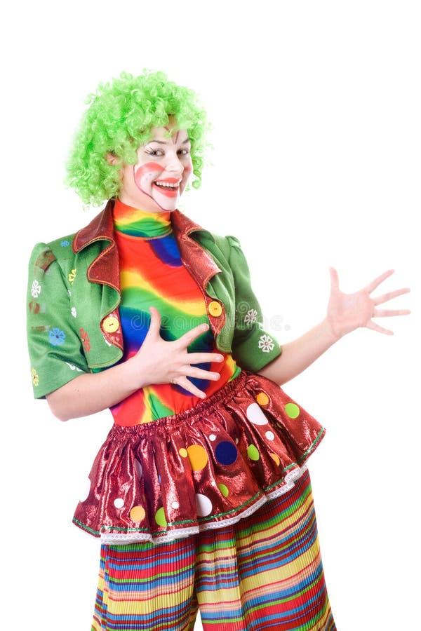Download Portrait Of Joyful Female Clown Stock Image - Image of green, happiness: 14992625