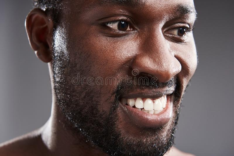 Portrait of a joyful handsome afro American man expressing positivity. Close up of a delighted afro American man smiling while expressing true positive emotions royalty free stock images