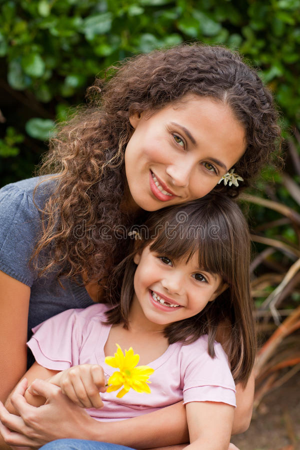 Portrait of a joyful mother with her daughter stock photos