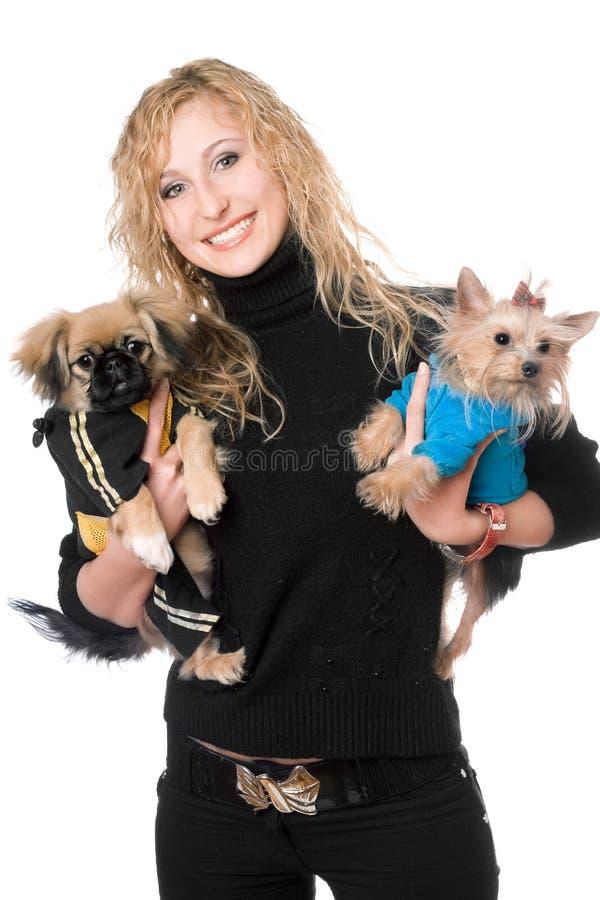 Portrait Of Joyful Pretty Blonde With Two Dogs Stock Photos