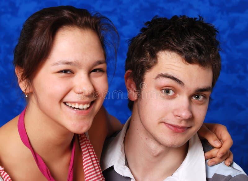 Portrait junges schönes Mädchen und Mens stockbild