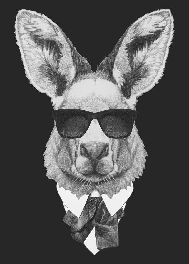 Portrait of Kangaroo in suit. Hand drawn illustration royalty free illustration