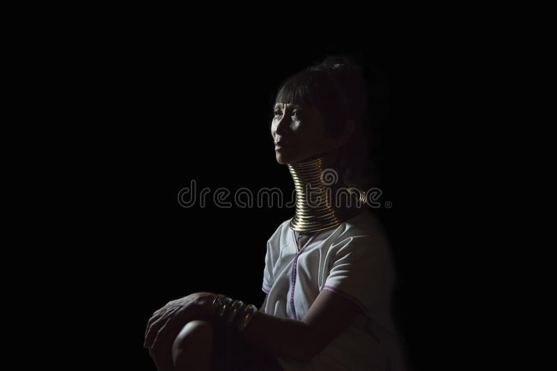 Portrait of a Kayan woman in traditional outfot stock image