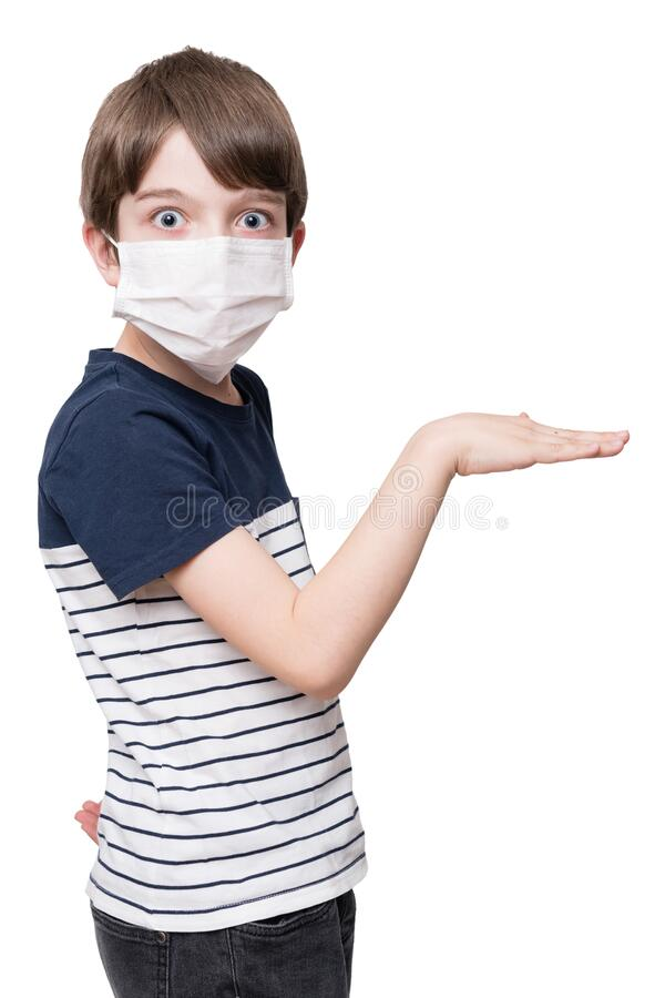 Kid with face mask dancing stock photography