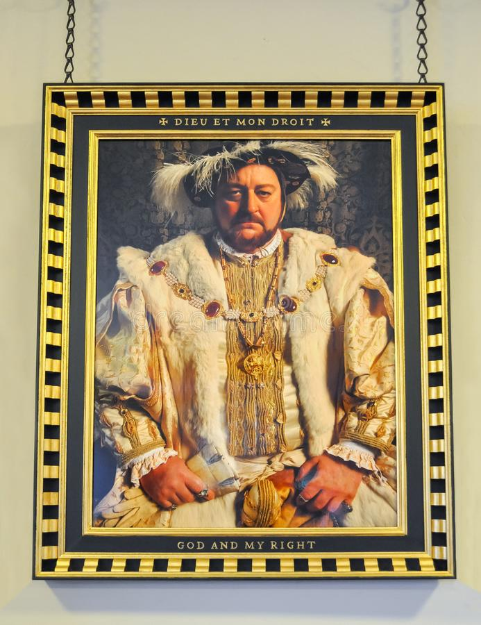Portrait of king Henry VIII of England in Hampton Court palace, London, UK royalty free stock images