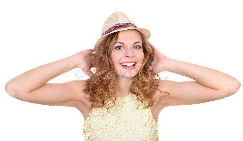 Portrait la fille émotive dans un chapeau images libres de droits
