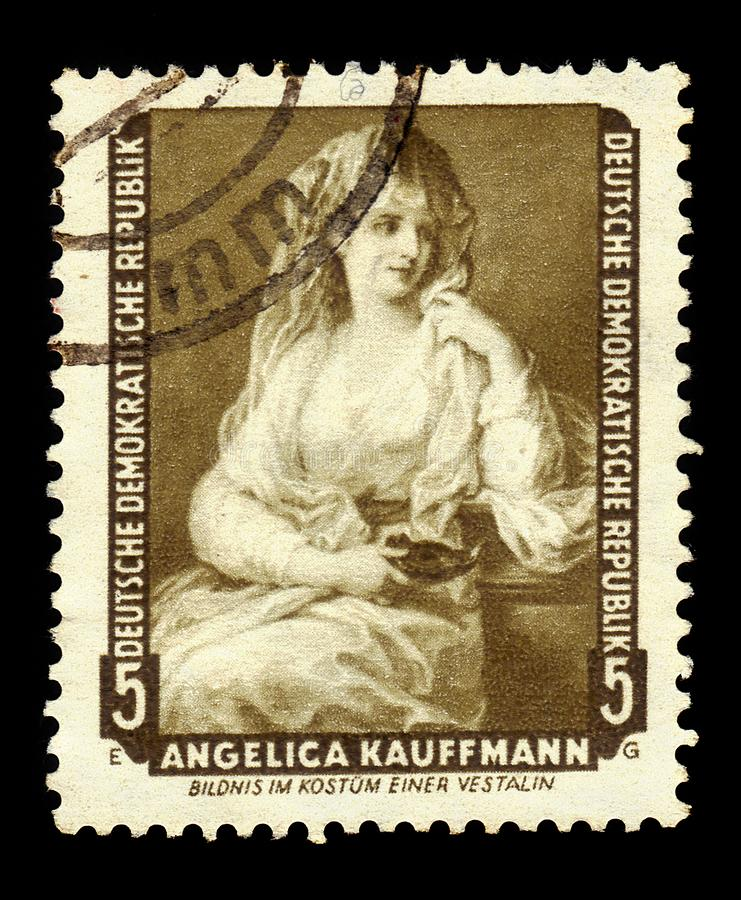Portrait of Lady as a Vestal Virgin by Angelica Kauffman. German Democratic Republic East Germany - circa 1959: A stamp printed in German Democratic Republic stock photos