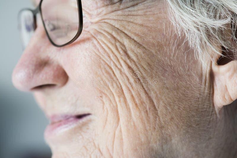 Portrait latéral de plan rapproché de la femme agée blanche images stock
