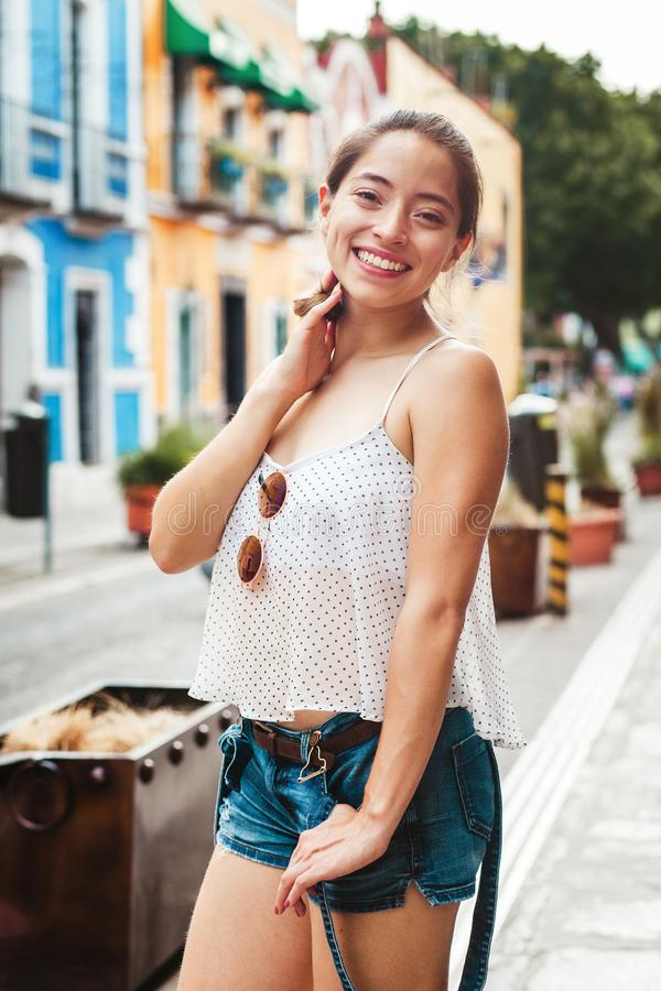 Portrait of a latin girl in mexico, mexican woman. Portrait mexican royalty free stock photo