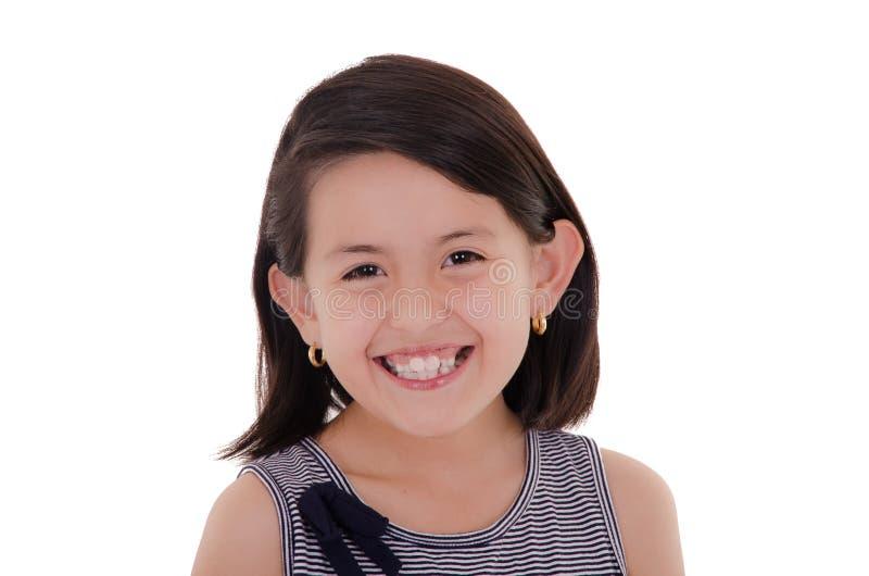 Portrait latin heureux de fille souriant - d'isolement plus de photos stock
