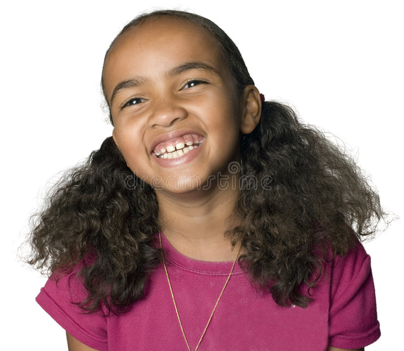 Portrait of a Latino girl laughing stock image