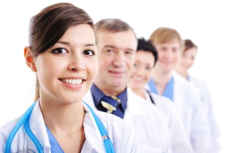 Portrait of laughing cheerful doctor's faces royalty free stock photography