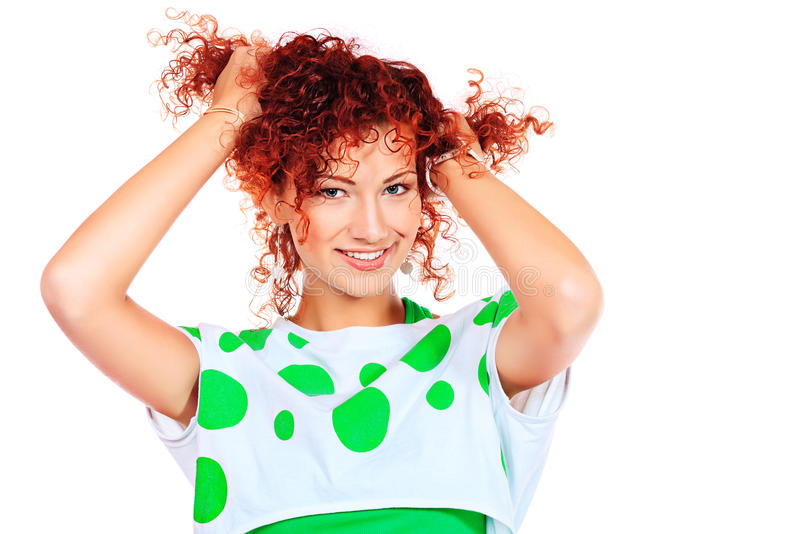 Download Curly red hair stock photo. Image of laughing, glamour - 30085674