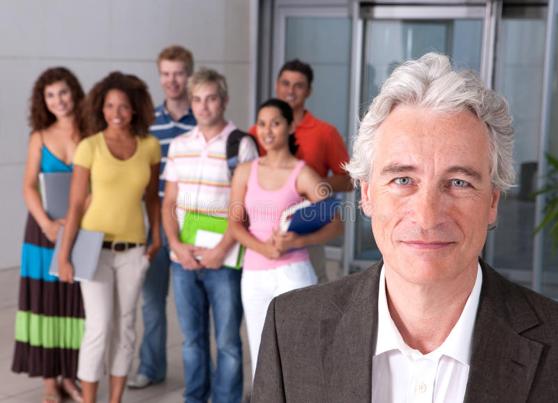 Download Portrait of lecturer stock photo. Image of crowd, camera - 9390774