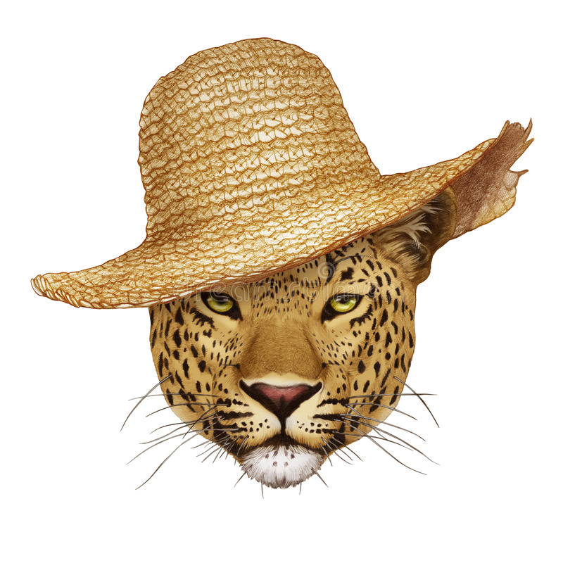 Portrait of Leopard with straw hat. Hand-drawn illustration, digitally colored stock illustration