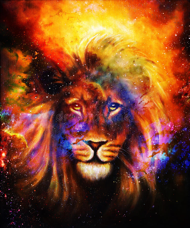Portrait lion in cosmic space. Eye contact. royalty free illustration