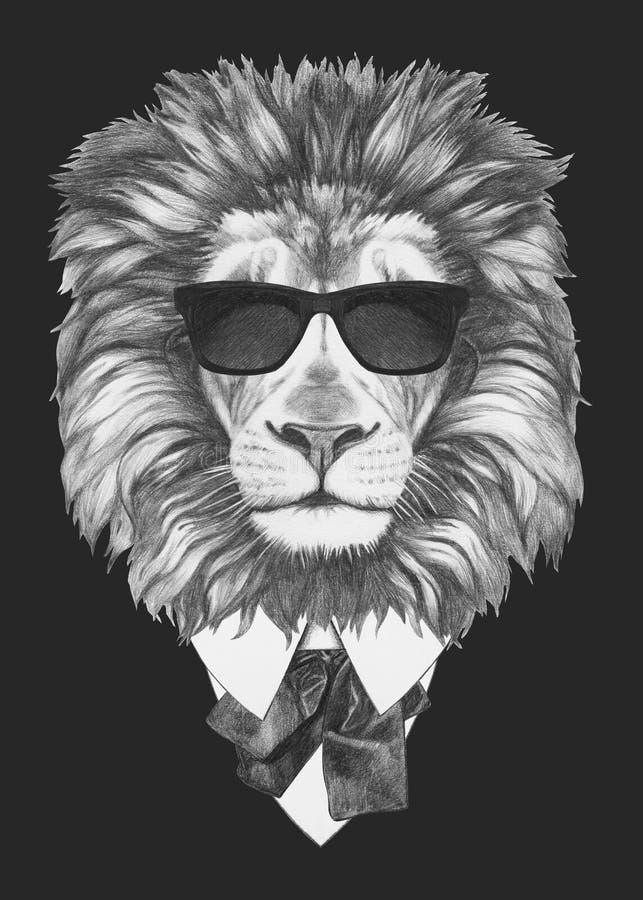 Portrait of Lion in suit. stock photos
