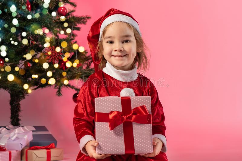 Portrait of Little Adorable Girl in Christmas Costume stock image