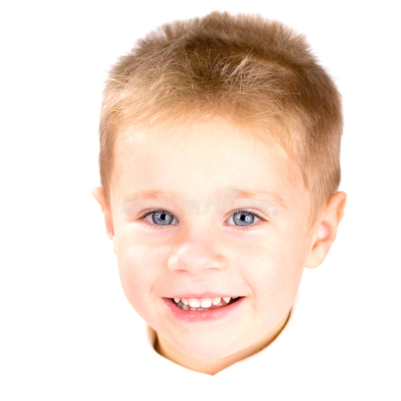 Portrait of little angel. Portrait of little smiling angel-boy with blue eyes and blond hair isolated on white stock photography