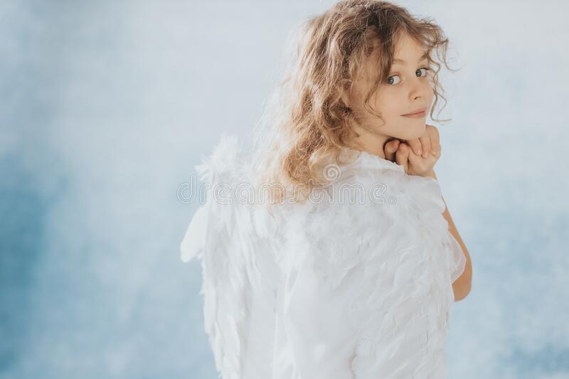 Portrait of little angel royalty free stock photography