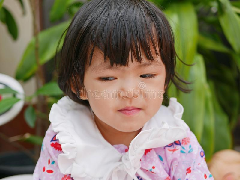 Portrait of a little Asian baby girl with a cunning look / smile. Portrait of a little Asian baby girl, 24 months old, with a cunning look / smile stock images