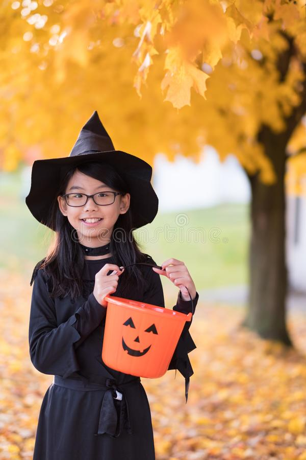 Portrait of little asian girl in witch costume stock photos