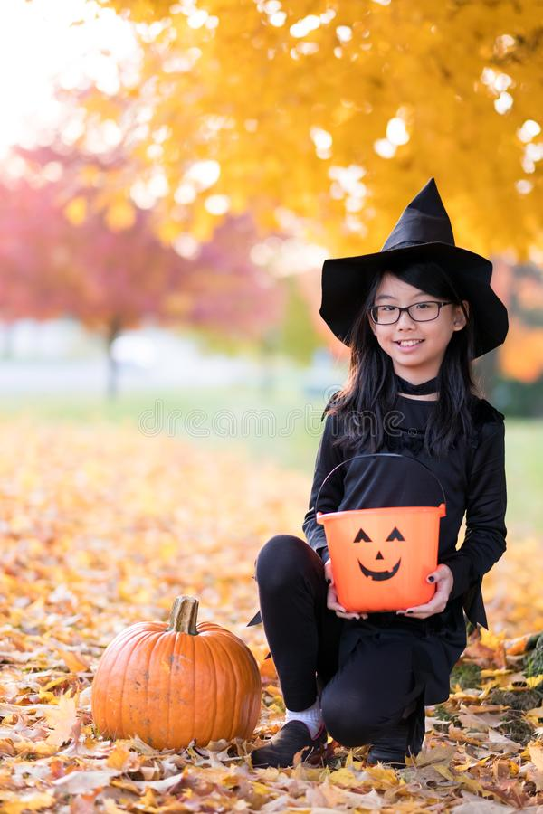 Portrait of little asian girl in witch costume stock image