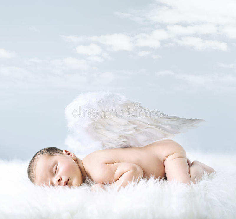 Portrait of a little baby as an angel royalty free stock images