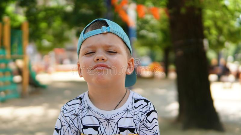 Portrait of a little boy . A child posing in the Park with funny expresion stock photo