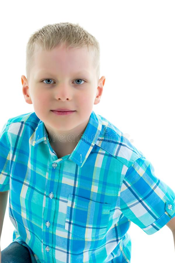 Portrait of little boy close-up, isolated. stock photography
