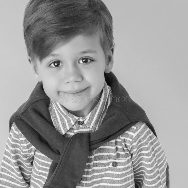 Portrait of little boy close-up, isolated. royalty free stock photography