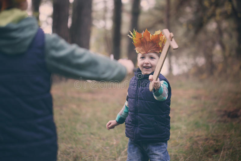 Portrait little boy in a forest on autumn day. Boy have a crown royalty free stock image