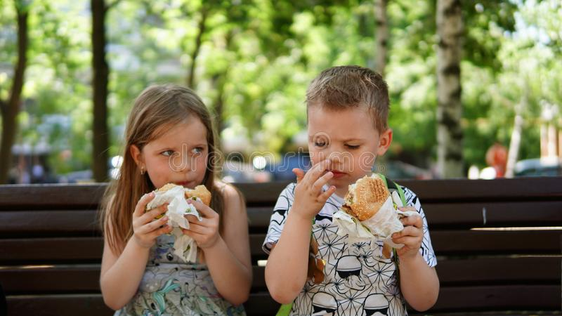 Portrait of a little boy and girl . A children eating hamburger in the Park royalty free stock images